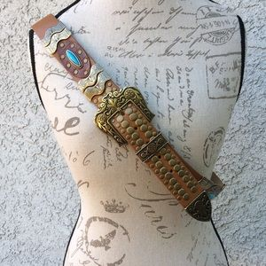 Accessories - Stud bead brown gold leather buckle belt